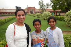 Agra Fort - Family inside the Agra fort
