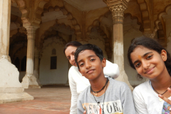 Agra Fort - Joshina and Children are watching