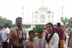 Taj Mahal - We, the family in front of the Monument