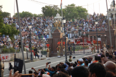 Wagah Border Ceremony - Indian and Pakistani Galleries are seen