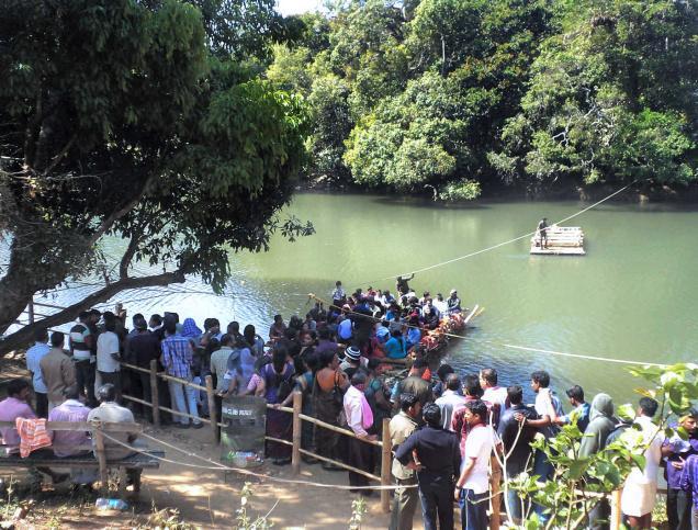 Kuruva island Bamboo Raft Crossing. Picture courtesy - The Hindu.
