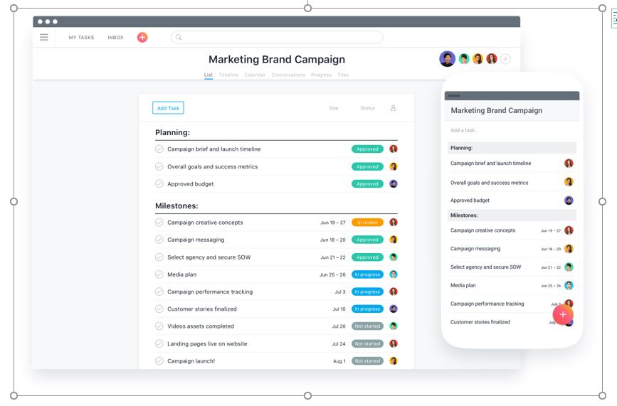 Asana Project Management Tool Screenshot
