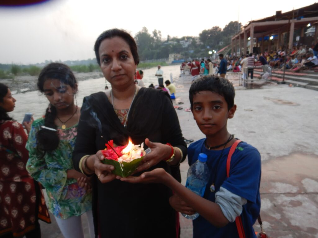 Rishikesh - with Mother holding the Diya