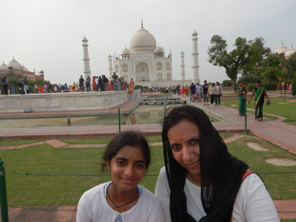 Taj Mahal - In front of the Great Monument of India with my Mother.